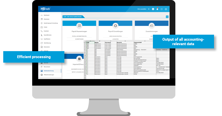 Screen displaying HRlab feature Preparatory Payroll Accounting